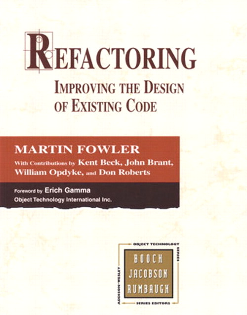 Book cover of Refactoring by Martin Fowler